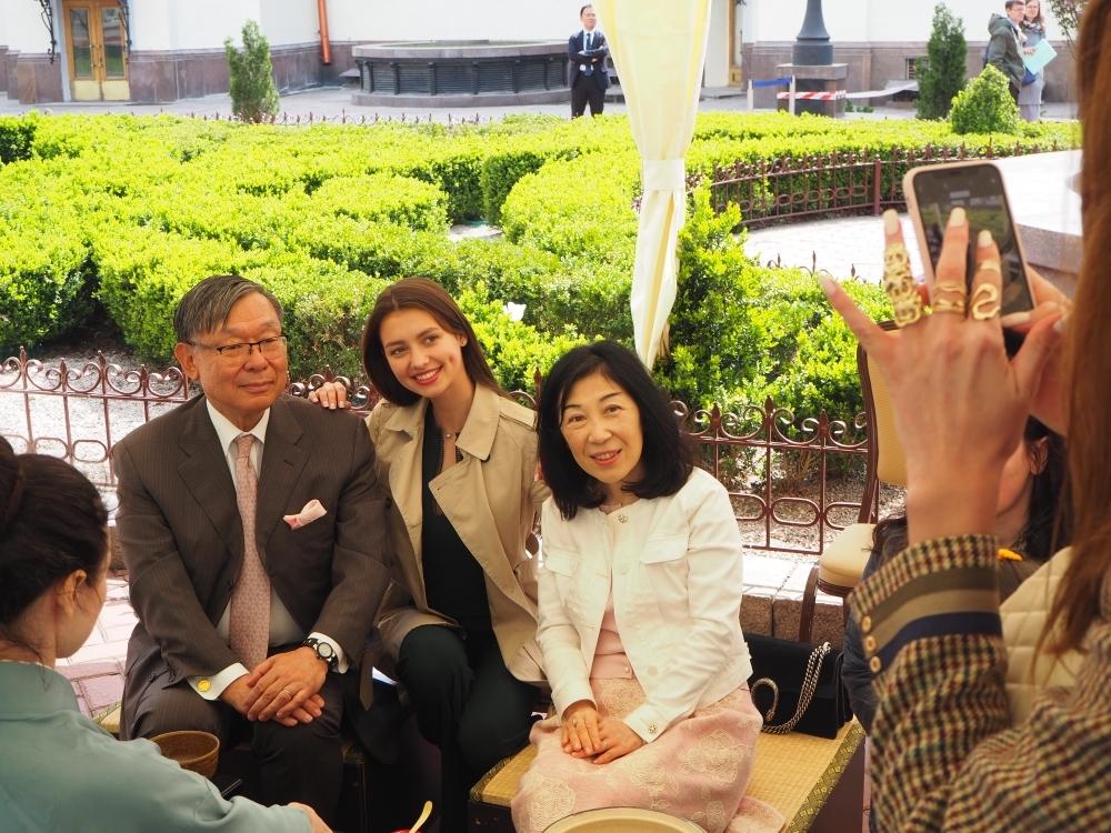 Sakura blossom party was held near the National Opera House of